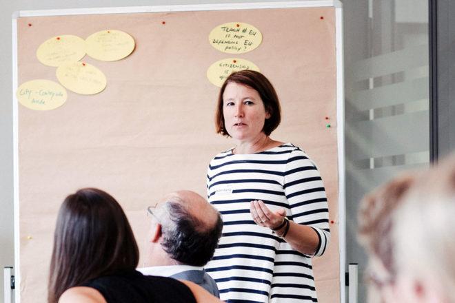 Katrin Müller-Wartig (Referatsleiterin MdJEV) auf der Teach#EU-Konferenz, Potsdam