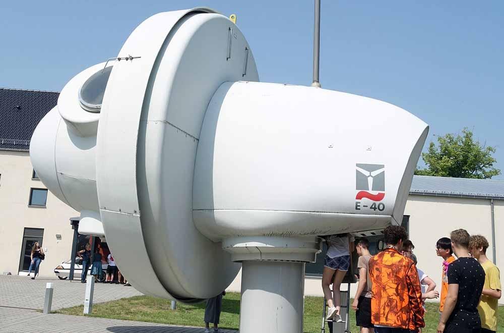 Der Kopf eines ausrangierten Windrades. Feldheim 2019